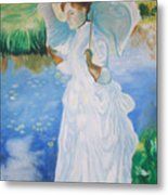 Lady With A Parasole  Metal Print