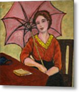 Lady With An Umbrella Metal Print