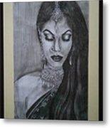 Lady With Bridal Jewelry Metal Print