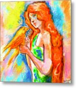 Lady With Canary Metal Print