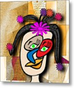 Lady With Flowers In Her Hair Metal Print