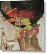 Lady With Hat Metal Print