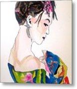 Lady With Kimono Metal Print