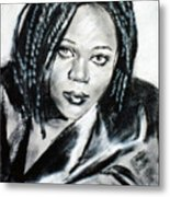 Lady With Leather Jacket Metal Print