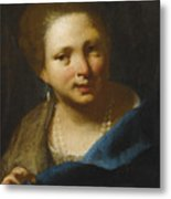 Lady With Pearls Metal Print