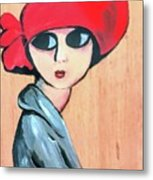 Lady With Red Hat Metal Print