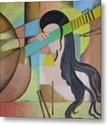 Lady  With Veena  Metal Print