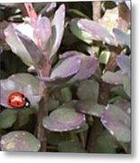 Ladybug Garden Metal Print