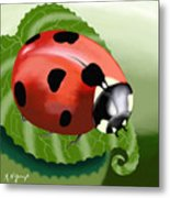 Ladybug On Leaf Metal Print