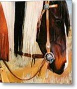 Ladys Jewels Horse Painting Portrait Metal Print