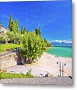 Lago Di Garda Beach In Sirmione View Metal Print