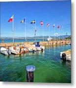 Lago Di Garda Harbor In Sirmione View Metal Print