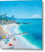 Laguna Beach Umbrellas Metal Print