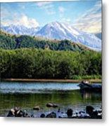 Lake And Volcano Metal Print