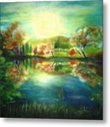 Lake At Dawn Metal Print