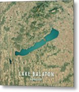 Lake Balaton 3d Render Satellite View Topographic Map Metal Print