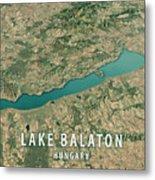 Lake Balaton 3d Render Satellite View Topographic Map Horizontal Metal Print