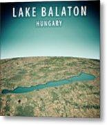 Lake Balaton 3d Render Satellite View Topographic Map Vertical Metal Print