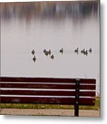 Lake Bench Metal Print