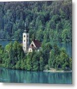 Lake Bled Island Metal Print