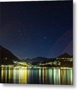 Lake Como Night Reflections Metal Print