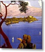 Lake Garda Vintage Poster Restored Metal Print
