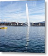 Lake Geneva Switzerland With Water Fountain And Water Taxi On A  Metal Print