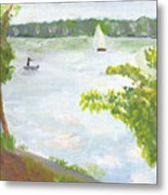 Lake Harriet With Sailboat And Angler Metal Print
