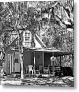 Lake House Black And White Metal Print