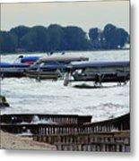 Lake Huron Shoreline Leading To Sand Point Metal Print