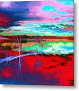 Lake In Red Metal Print