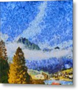 Lake In The Middle Of Swiss Beauty Metal Print