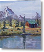 Lake Jenny Cabin Grand Tetons Metal Print