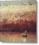 Lake Leman With Setting Sun Metal Print by Gustave Courbet
