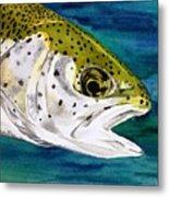 Lake Leopard Metal Print
