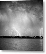 Lake Lightning Bw Metal Print