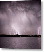 Lake Lightning Metal Print