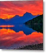 Lake Mcdonald Fiery Sunrise Metal Print
