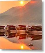 Lake Mcdonald Fiery Sunset Metal Print