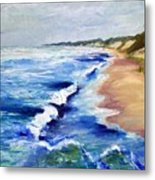 Lake Michigan Beach With Whitecaps Metal Print
