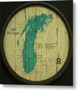 Lake Michigan Map Metal Print