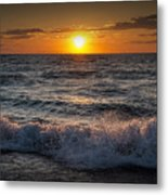 Lake Michigan Sunset With Crashing Shore Waves Metal Print