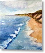 Lake Michigan With Whitecaps Ll Metal Print by Michelle Calkins