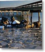 Lake Ontario Sunset At Toronto Center Island Pier In Winter With Metal Print