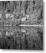 Lake Reflections In Black And White Metal Print