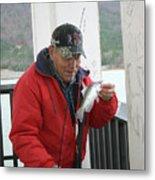 Lake Sardis Fisherman Metal Print