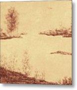 Lake Scene On Parchment Metal Print