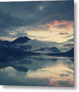 Lake Sylvenstein With Red Sky Metal Print