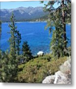 Lake Tahoe With Mountains Metal Print