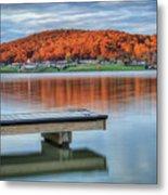 Autumn Red At Lake White Metal Print by Jaki Miller